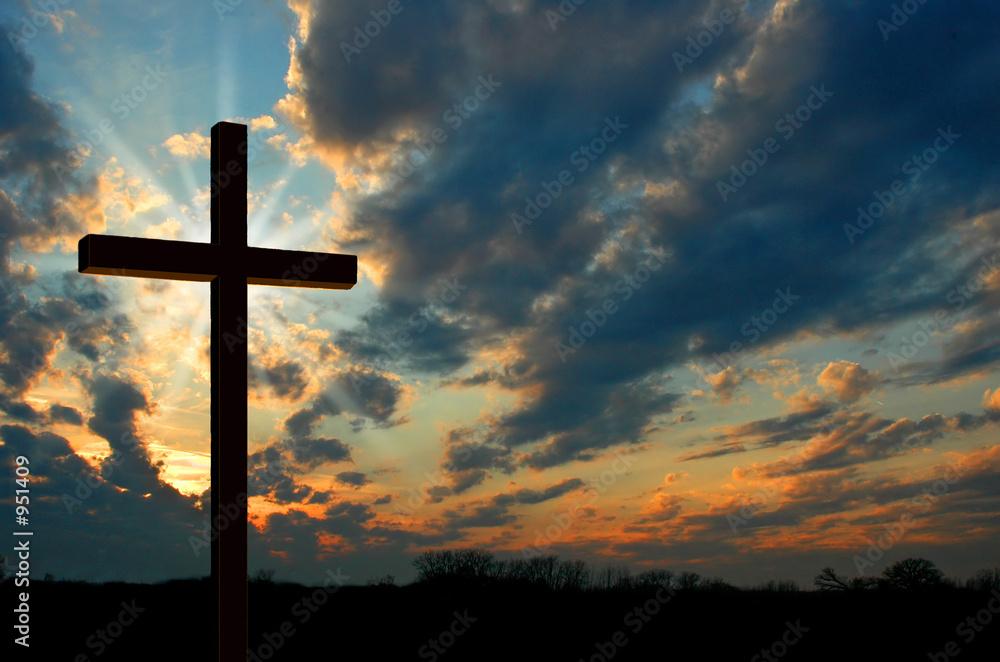 Fototapety, obrazy: cross at sunset