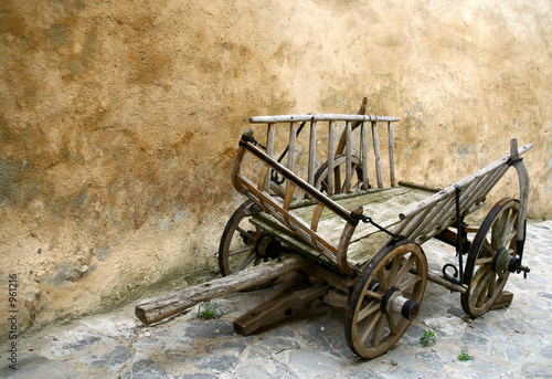 old wooden cart in ghosttown