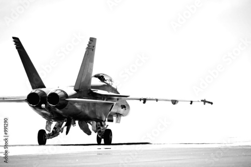 f18 taxiing bw Canvas Print