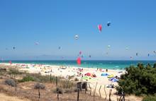 Tarifa Beach In Spain Packed With Kitesurfers
