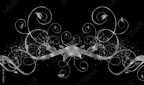 canvas print motiv - bsilvia : brushed silver swirls on black