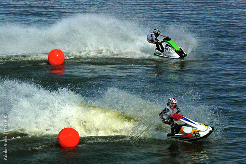 Poster Nautique motorise two jetskis riding from red balls