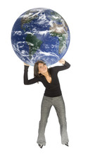 Concept - Woman Carrying Earth
