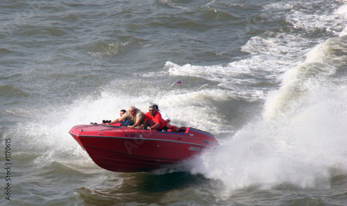 men in speed boat on water
