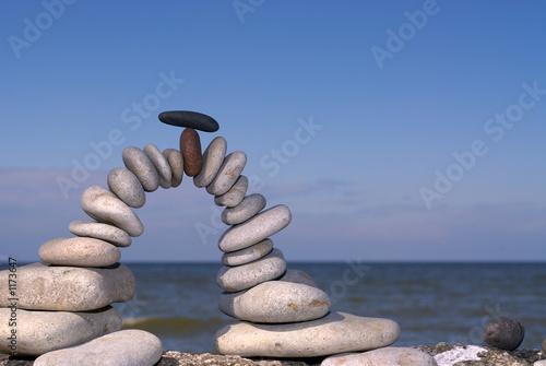 Foto op Plexiglas Stenen in het Zand balanced stones