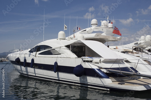 Garden Poster Water Motor sports luxury yacht in the port of saint-tropez