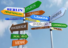 Direction Signs With Name Of European Cities