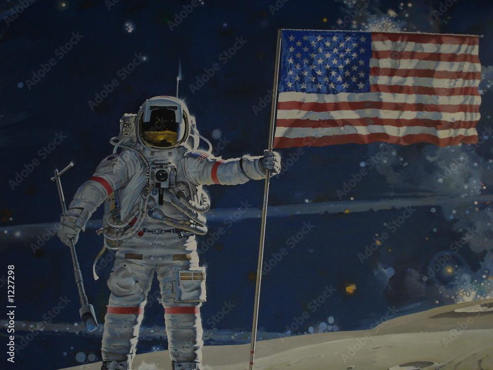 einzelne bedruckte Lamellen - man on the moon