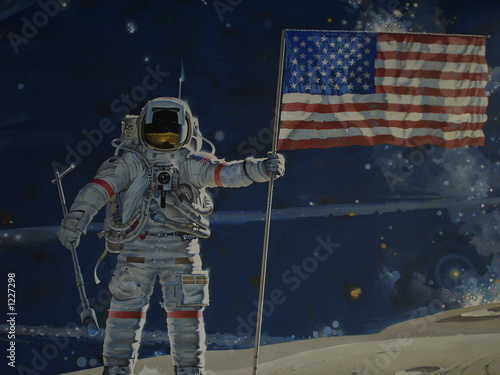 Aluminium Prints Nasa man on the moon