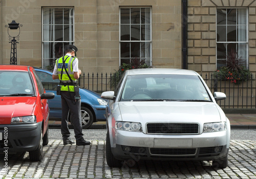 Canvas Print parking attendant, traffic warden, getting ticket