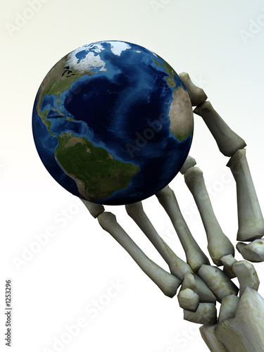 skeleton hand and the earth 4 Canvas Print