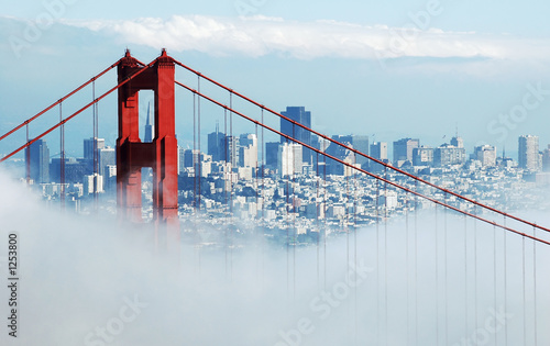 golden gate & san francisco under fog Wallpaper Mural