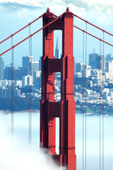 Fototapeta Mosty golden gate, transamerica and fog