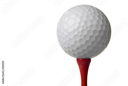 Canvastavla golf ball on red tee, white background
