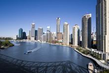 Ferry On Brisbane River With Skyline