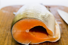 Fresh Salmon Fish With Knife O...