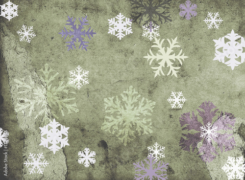 Poster Retro snowflackes on grungy background