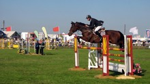 Horse & Rider Competing In A Showjumping Event.
