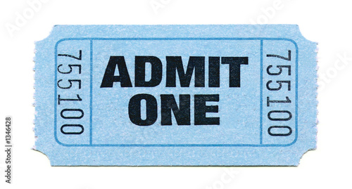 Fotografie, Obraz  admit one ticket (light blue)