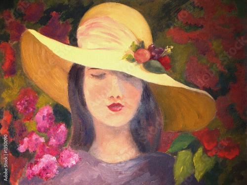 obraz-olejny-z-kobieta-w-slomianym-kapeluszu-z-kolorowymi-kwiatami