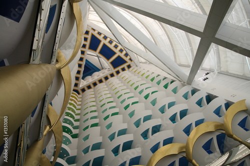 upward view of lobby in burj al arab Canvas Print