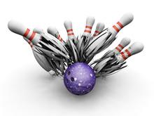 Bowling Ball Smashing Into Pins