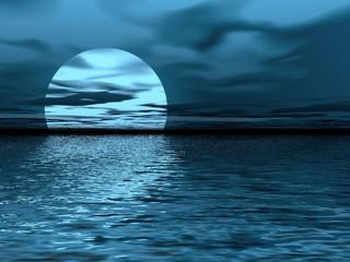 moon. blue landscape