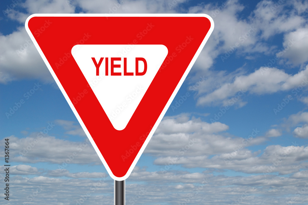 Fototapety, obrazy: yield sign with clouds