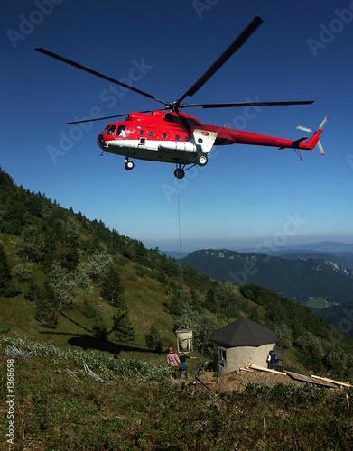 Poster Helicopter betonierung mit hubschrauber