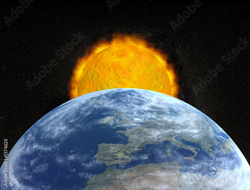 einzelne bedruckte Lamellen - planet earth and sun (von goce risteski)