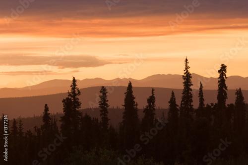 sunset in alaska Wallpaper Mural
