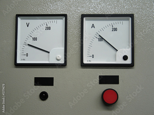 volt and amper metering on industrial panel Canvas Print