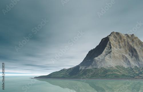 Aluminium Prints Dark grey mountain landscape