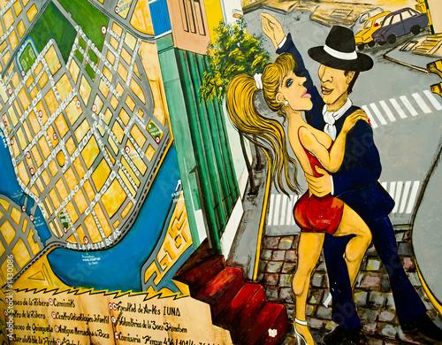 Fotobehang Buenos Aires tango graffiti