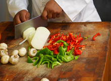 Chef Cutting Vegetables Close Up