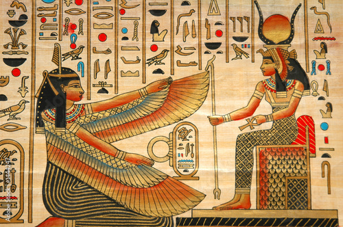 In de dag Egypte papyrus with elements of egyptian ancient history