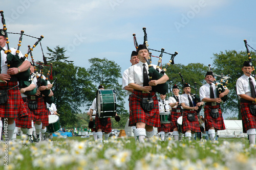 scottish band marching on grass Canvas Print