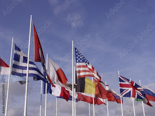 flags of europe and the united states of america Wallpaper Mural