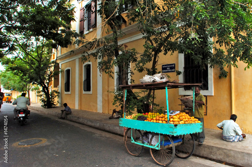 india, pondicherry: french colonial architecture Canvas Print