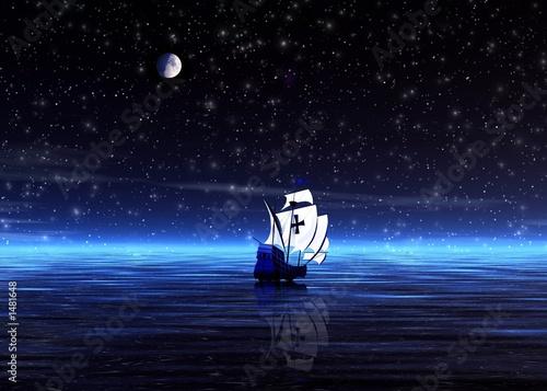 Fototapeta night. lonely sailer