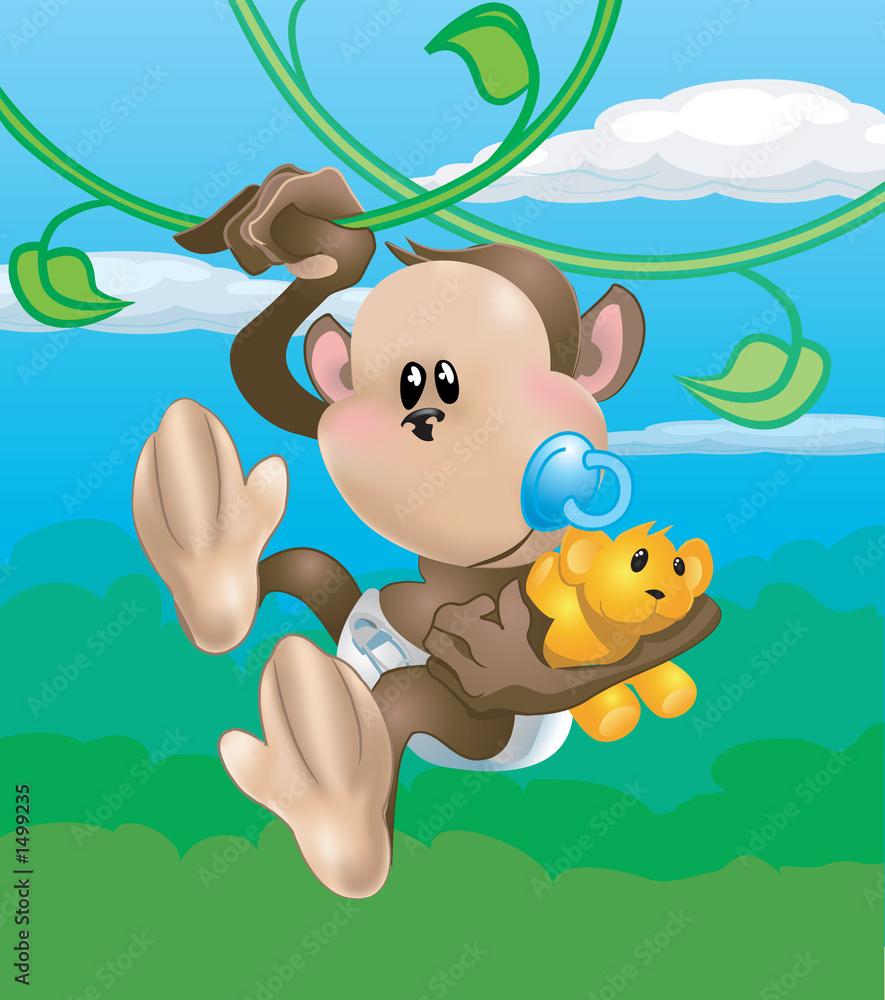 Foto-Plissee - cute monkey