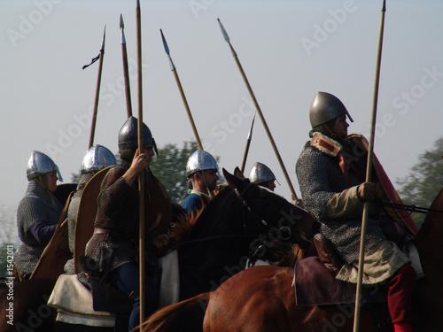 norman horsemen with lances Canvas Print
