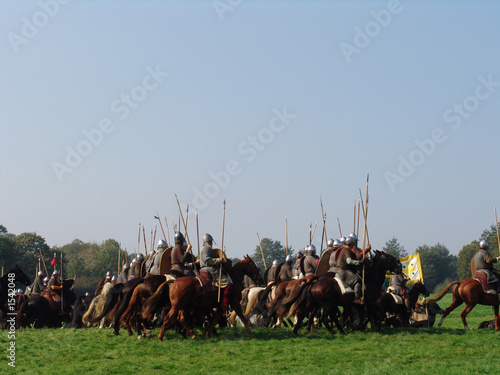 Valokuvatapetti norman cavalry charge across field of battle