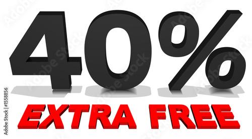 40% extra free 3d text Canvas Print