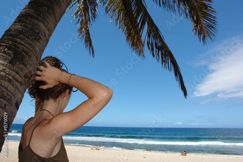 Fotografie, Tablou femme sous un cocotier