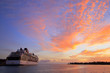 canvas print picture - cruise ship at sunset