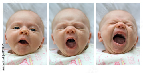 yawning infant - triptych Canvas Print