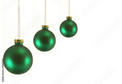 Three Green Christmas Ornaments Buy This Stock Photo And Explore
