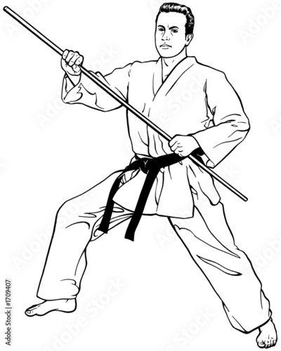 forward stance w/ bow staff - Buy this stock illustration