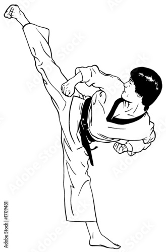 Deurstickers Illustratie Parijs high, perfect side kick (taekwondo)